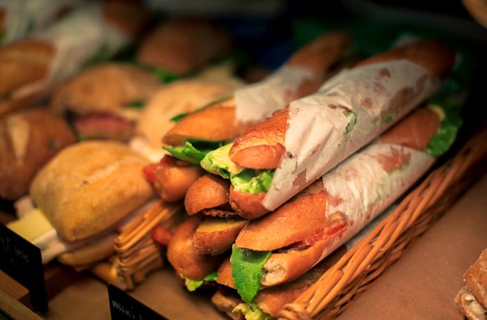 Mini baguette sandwiches at La Boulange
