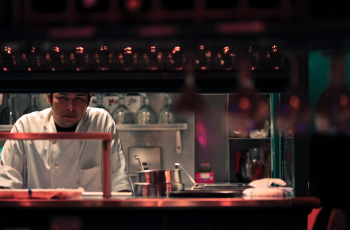 One of many chefs working the kitchen at Stinking Rose located in Russian Hill on Columbus Ave