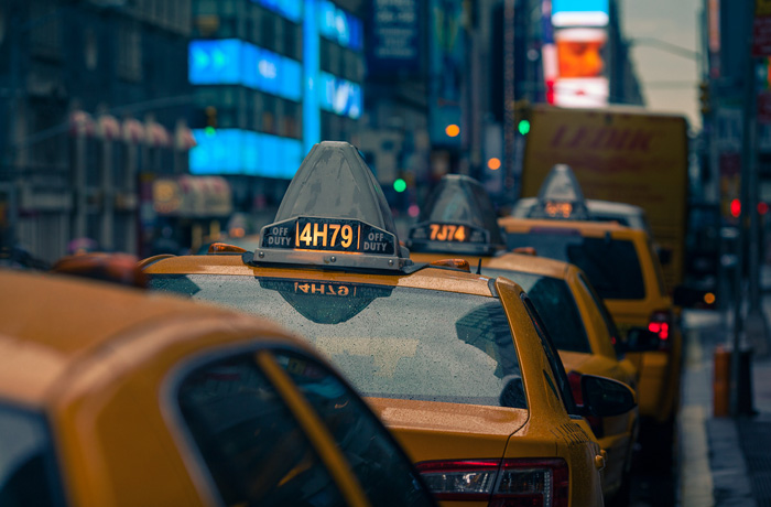 Taxis in Rain