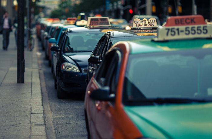 Taxis parked at the curb