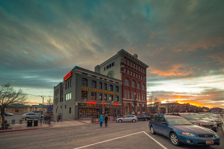 Squatters Pub Brewery during sunset on a Saturday